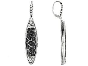 Black Indonesian Coral Sterling Silver Earrings