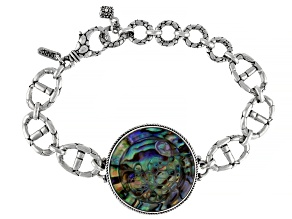 Abalone Quartz Doublet Silver Sea Turtle Bracelet