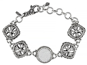 White Carved Mother-of-Pearl Silver Flower Bracelet