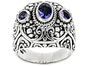 Blue Tanzanite Sterling Silver Ring 1.12ctw