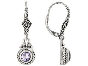 Blue Tanzanite Sterling Silver Dangle Earrings .90ctw
