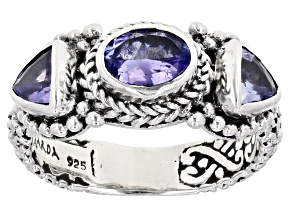 Blue Tanzanite Sterling Silver 3-Stone Ring 1.12ctw