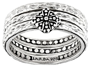 """Sterling Silver """"Lasting Changes"""" Stackable Set of 3 Rings"""