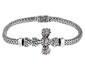 """Sterling Silver """"Righteousness By Faith"""" Cross Bracelet"""