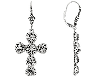 "Picture of Sterling Silver ""Righteousness By Faith"" Cross Earrings"