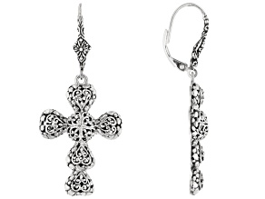 "Sterling Silver ""Righteousness By Faith"" Cross Earrings"