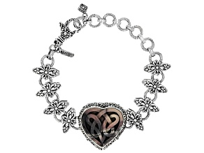 Multi-Color Porcelain Jasper Sterling Silver Celtic Heart Bracelet