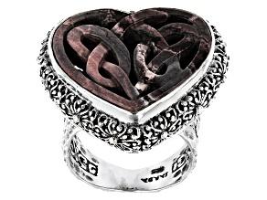 Multi-Color Porcelain Jasper Sterling Silver Celtic Heart Ring