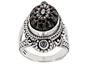 Black Mother-Of-Pearl Dahlia Sterling Silver Ring