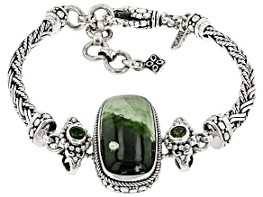 Green Chrome Chalcedony And Chrome Diopside Silver Bracelet .60ctw