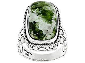 Green Chrome Chalcedony Silver Ring