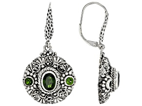 Green Chrome Diopside Sterling Silver Earrings 1.70ctw