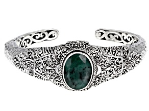 Green Emerald Sterling Silver Cuff Bracelet 5.33ct