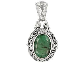 Green Emerald Sterling Silver Locket Pendant 5.33ct