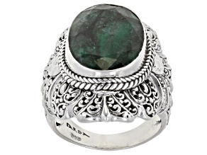 Green Emerald Sterling Silver Solitaire Ring 5.33ct