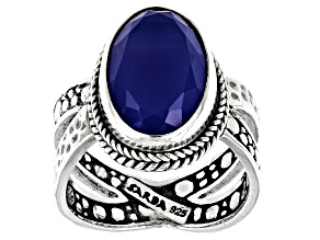 Dark Blue Onyx Sterling Silver Solitaire Ring