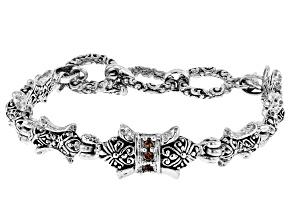 Champagne Zircon Sterling Silver Bracelet .15ctw