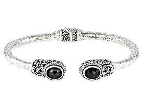 Black Spinel Sterling Silver Bangle Bracelet 1.96ctw