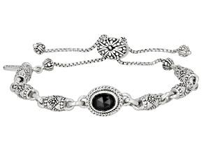 Black Spinel Sterling Silver Adjustable Bracelet .98ct