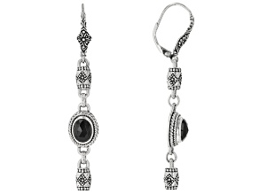 Black Spinel Sterling Silver Dangle Earrings 1.96ctw