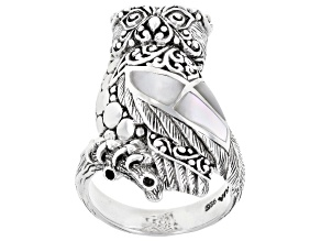 White Mother-Of-Pearl Sterling Silver Owl Ring