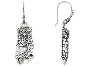 White Mother-Of-Pearl Sterling Silver Owl Earrings