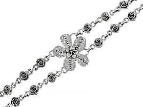 Sterling Silver Frangipani and Roses Bracelet