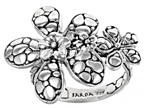 Sterling Silver Frangipani and Roses Ring