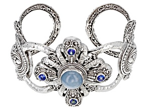 Blue Aquamarine Sterling Silver Bracelet 1.16ctw