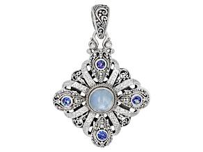 Blue Aquamarine Sterling Silver Pendant 1.16ctw