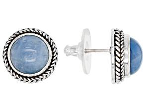 Blue Aquamarine Sterling Silver Stud Earrings