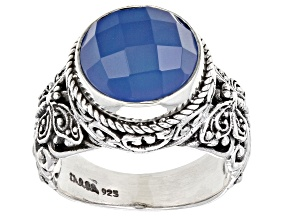Madagascar Blue Agate Sterling Silver Solitaire Ring
