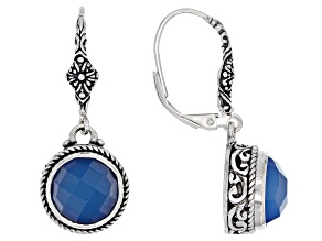 Madagascar Blue Agate Silver Earrings