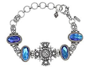 Rainbow Tanzanite Blue Quartz Triplet Silver Bracelet