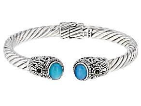 Multi-Color Paraiba Color Opal Sterling Silver Bracelet .16ctw