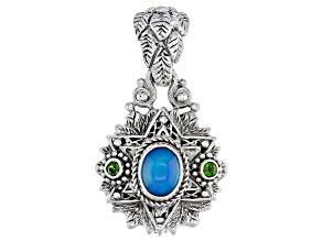 Multi-Color Paraiba Color Opal Sterling Silver Pendant .16ctw