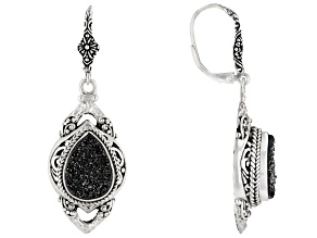 Black Night™ Drusy Quartz Silver Earrings