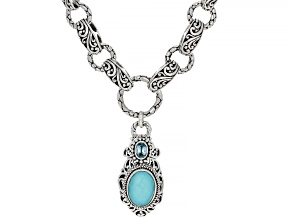 Turquoise Doublet Sterling Silver Necklace .60ct