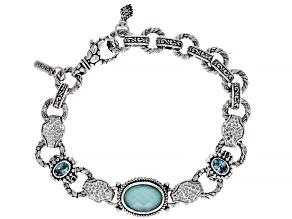 Turquoise Doublet Silver Bracelet 1.20ctw