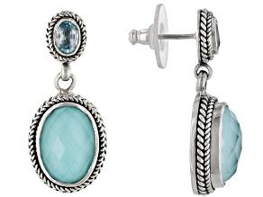 Turquoise Doublet Silver Earrings 1.20ctw
