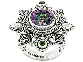 Odyssey Green(TM) Topaz Sterling Silver Ring 4.18ctw