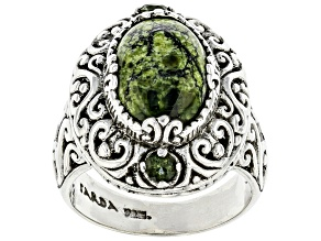 Green Serpentine Sterling Silver Ring .18ctw