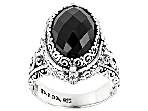 Black Spinel Sterling Silver Ring 5.00ct