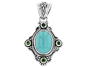 Blue Turquoise Sterling Silver Pendant .24ctw