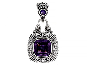 Blue Lab Created Color Change Sapphire Sterling Silver Pendant 7.77ctw