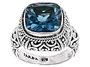 Blue Lab Created Alexandrite Silver Ring 7.57ct