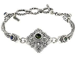 Green Moldavite Sterling Silver Bracelet 1.58ctw