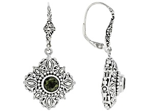 Green Moldavite Sterling Silver Dangle Earrings 1.08ctw