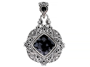 Black Snowflake Obsidian And .29ct Spinel Silver Pendant .29ct