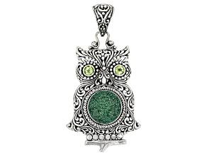 Fern Green™ Drusy Quartz Sterling Silver Owl Pendant 0.40ctw